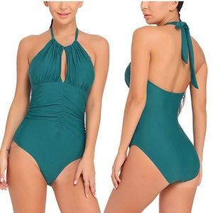 Retro Vintage Ruched One Piece Swimsuit